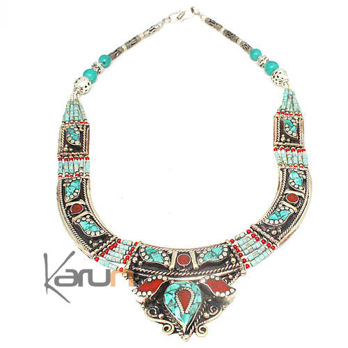 Turquoise Root Coral Necklace 7056