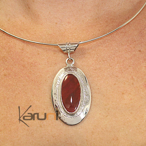 Necklace Pendant Sterling Silver Agate 7048