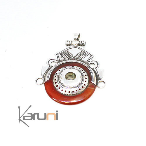 Necklace Pendant Sterling Silver Red Agate 7050