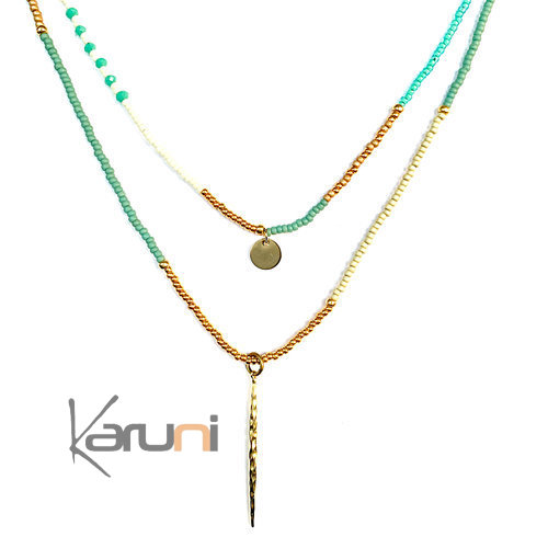 Gold Plated Beads Double Necklace 7056
