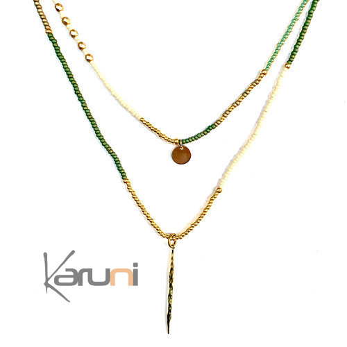 Gold Plated Beads Double Necklace 7057