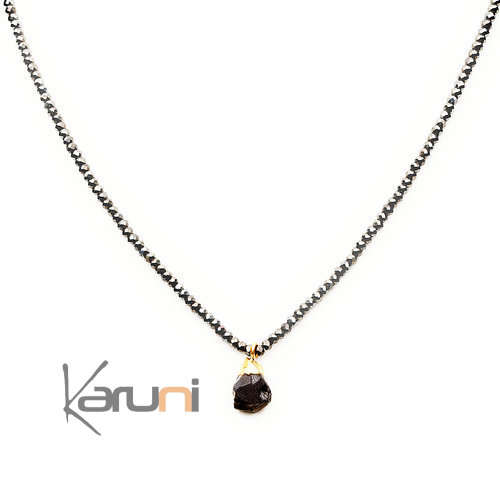 Gold Plated Beads Black Necklace 7058