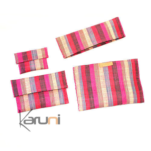 Raffia Patterned Pouch Red