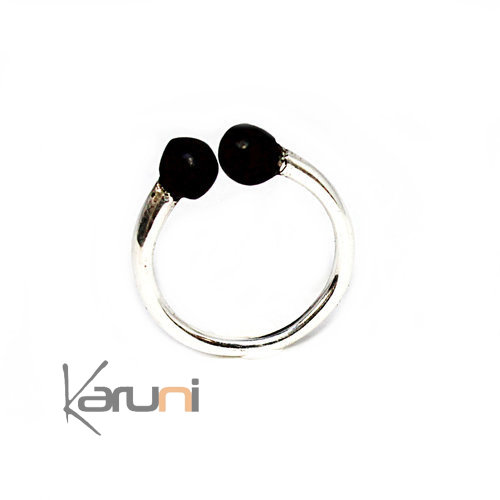 Adjustable Ebony Sterling Silver Ring 1111