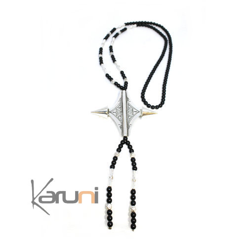 Ethnic Necklace Sterling Silver Jewelry Black Onyx 7049