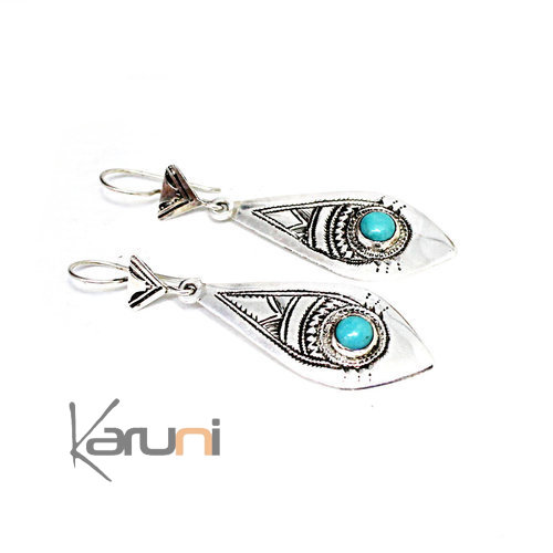 Sterling Silver Earrings Turquoise 5120 Fish