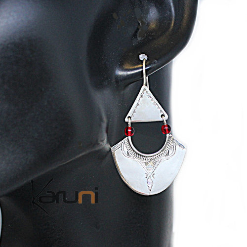 Ethnic Earrings Sterling Silver Jewelry Long Leaf Pendants Red Beads 5126