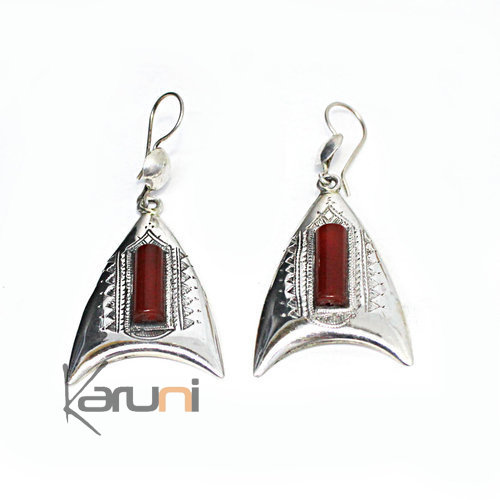 925 Sterling Silver earrings Red Agate 5128