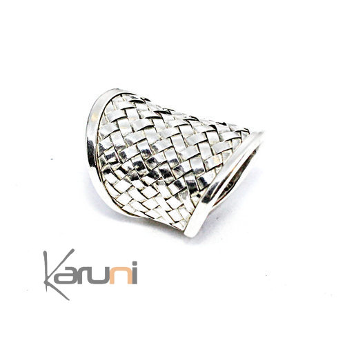 Sterling Silver Large Ring Braided Silver 1130