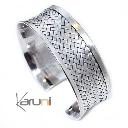 Concave Sterling Silver Bracelet Braided Silver 3103