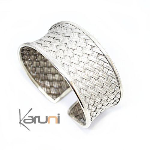 Sterling Silver Cuff Bracelet Braided Silver 3104