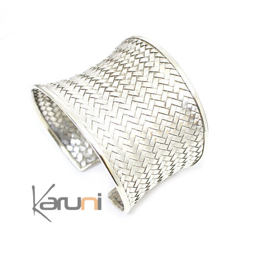 Large Sterling Silver Cuff Bracelet Braided Silver 3105
