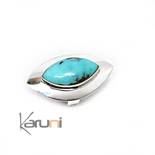925 Sterling Silver Ring Long Turquoise 1132
