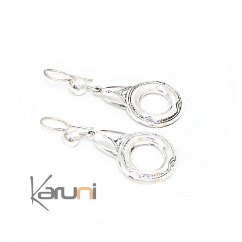 Sterling Silver Earrings Flat Oval 5136