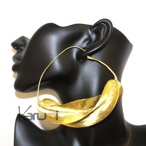 Fulani Earrings Hoops African Ethnic Jewelry Gold Version/Golden Bronze Mali Jumbo 10 cm/4 inches