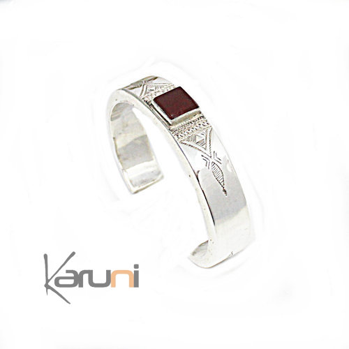 Ethnic Bracelet Sterling Silver Agate Red Square 3110