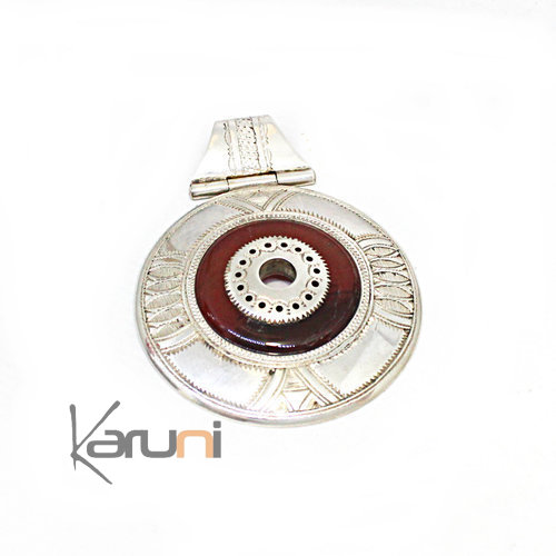 Sterling Silver Necklace Pendant Sterling Silver Ethnic Jewelry Red Agate Round 7052