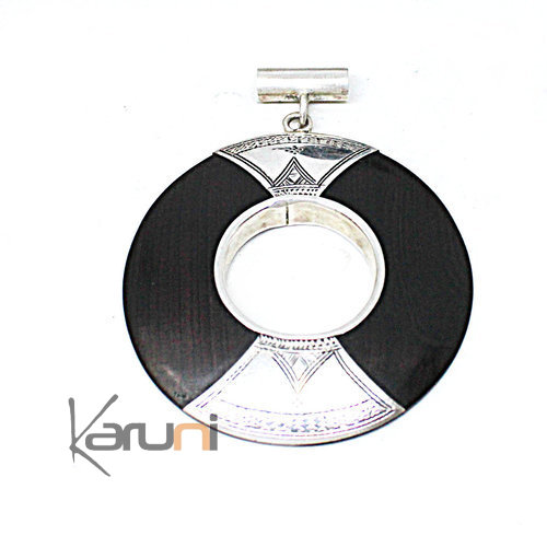 Round Ethnic Necklace Ebony Sterling Silver Pendant 7053
