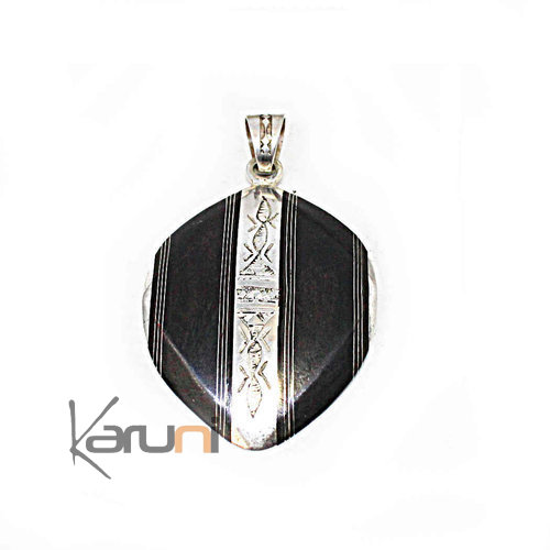 Oval Ethnic Necklace Ebony Sterling Silver Pendant 7054