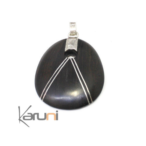 Design Ethnic Necklace Ebony Sterling Silver Pendant 7055