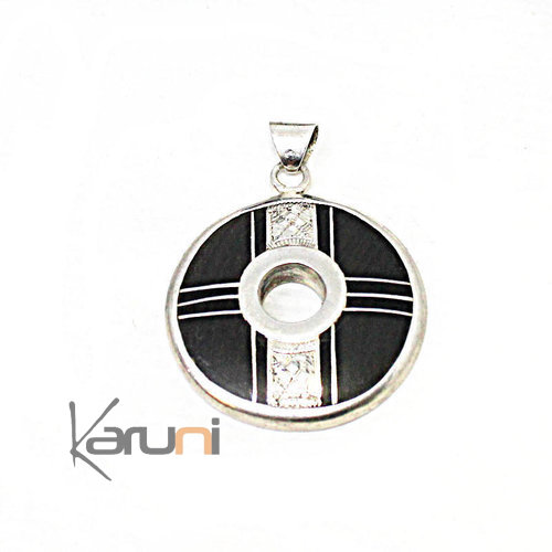 Small Ethnic Necklace Ebony Sterling Silver Pendant 7056