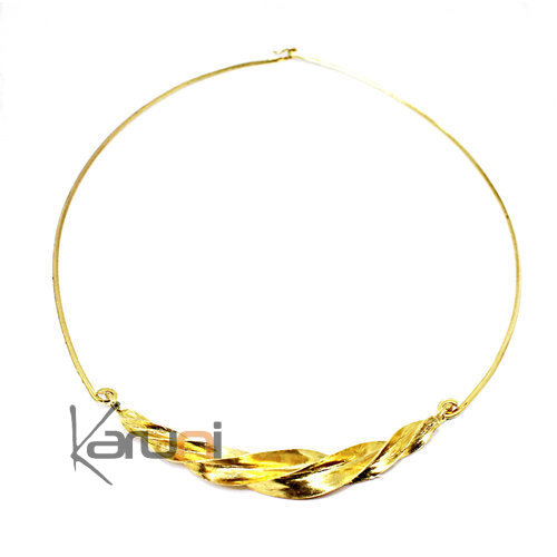 Peul Golden Bronze Long Twisted Leaf Necklace 7061