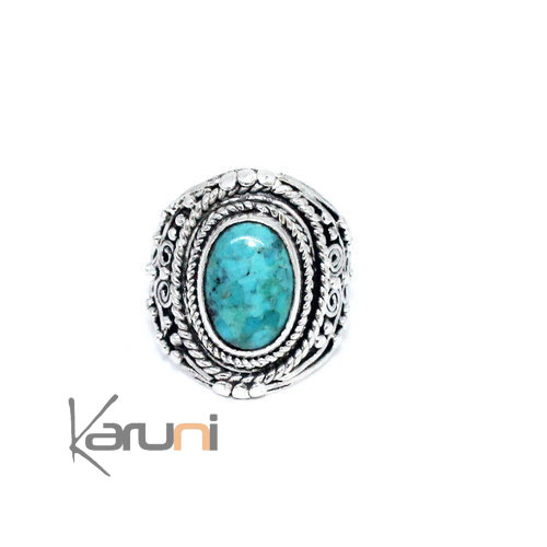 Turquoise sterling silver ring inspiration Nepal 1150