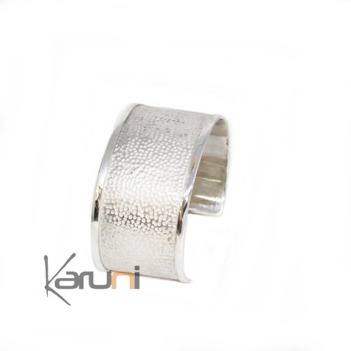 Cuff Bracelet Hammered Sterling Silver Cream Tinted 3116