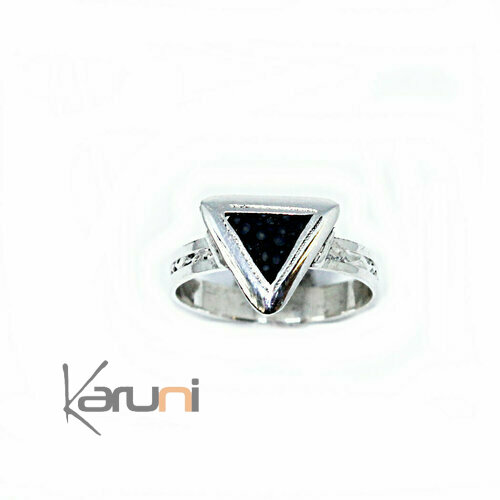 Shagreen silver ring triangle 1160