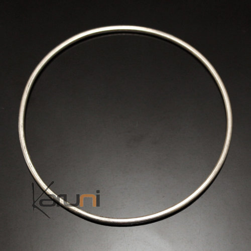 Bangle Bracelet Sterling Silver  Thin Smooth Tuareg Tribe Design 02