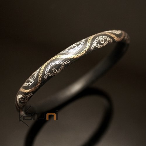 African Bracelet Ethnic Jewelry Silver Horn Bronze Mix Bangle Filigree from Mauritania Men/Women 04