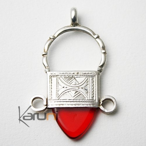 African Southern Cross Necklace Pendant Sterling Silver   Red Glass Bead from Ingall Tuareg Tribe Design  KARUNI