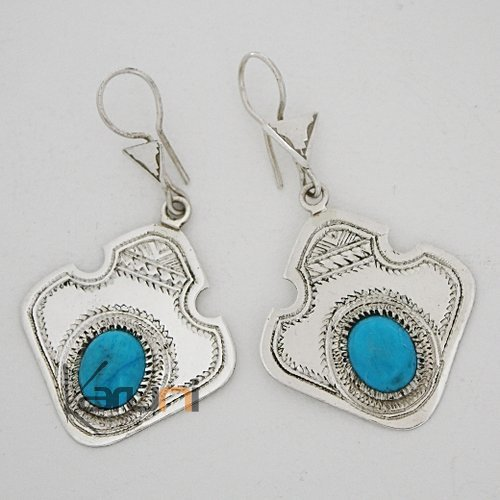 Tuareg earrings silver and turquoise 2