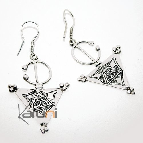 Earrings Sterling Silver  Fibula Berber Tuareg Tribe Design 77