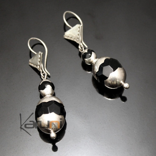 Earrings Sterling Silver  Scalloped Black Onyx Tuareg Tribe Design 15
