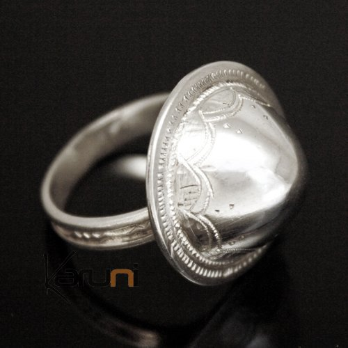 950 Silver Ring Grelot Engraved Dome 10001