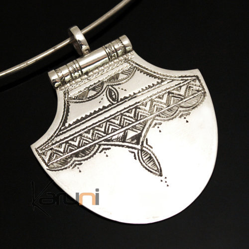 African Necklace Pendant Sterling Silver   Lotus Tuareg Tribe Design 33