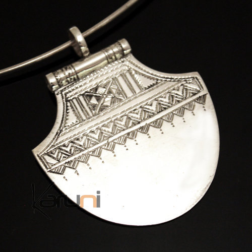 African Necklace Pendant Sterling Silver   Lotus Tuareg Tribe Design 34