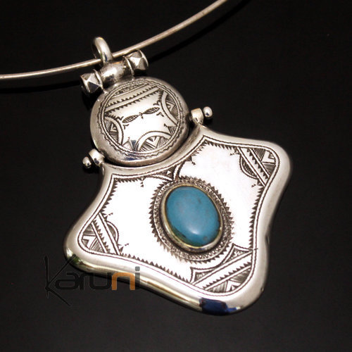 African Necklace Big Pendant Sterling Silver   Turquoise Howlite Tuareg Tribe Design 05