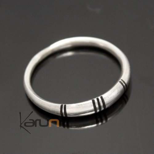 Ethnic Engagement Ring Wedding Jewelry Sterling Silver Ebony Men/Women Tuareg Tribe Design 02 KARUNI