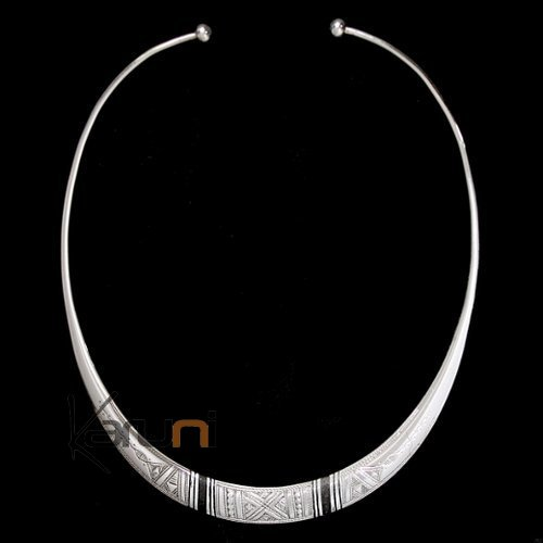 Ethnic Jewelry Choker Necklace Sterling Silver and Ebony Engraved Torque 8002