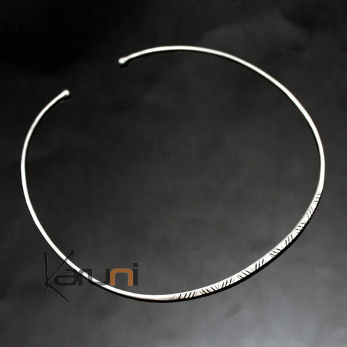 African Choker Necklace Silver 750 Ethnic Jewelry from Mauritania Tuareg Tribe Design 03