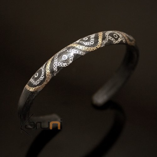 African Bracelet Ethnic Jewelry Silver Horn Bronze Mix Filigree from Mauritania Men/Women 03