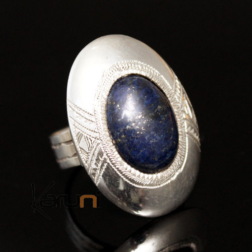 African Lapis Lazuli Ring Sterling Silver Ethnic Jewelry Oval Men/Women Tuareg Tribe Design 01