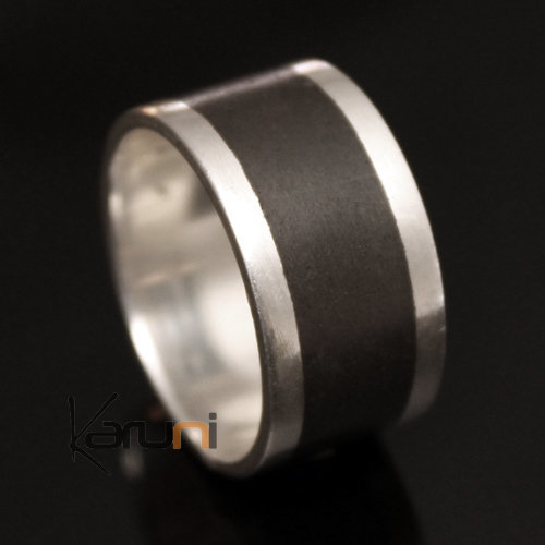 Engagement Ring Wedding  Sterling Silver Ebony Strip Large Men/Women Tuareg Tribe Design KARUNI