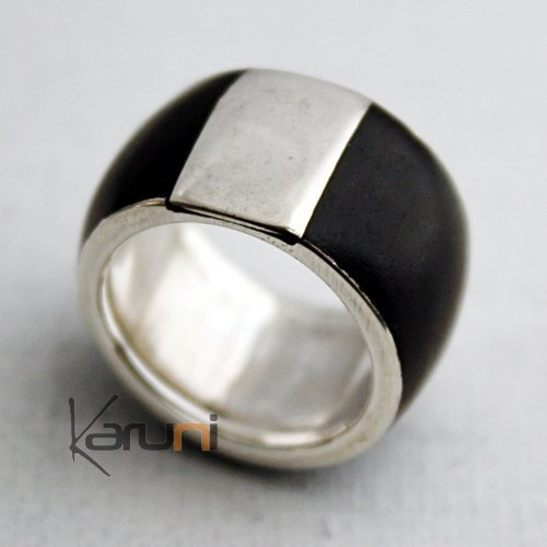 Ethnic Engagement Ring Wedding Jewelry Sterling Silver Ebony Square Men/Women Tuareg Tribe Design