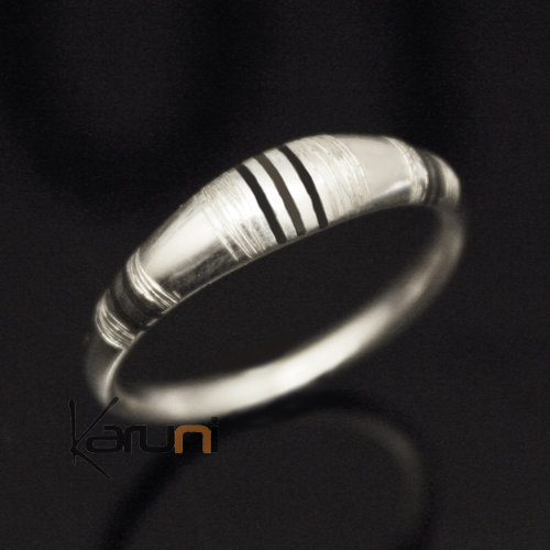 Ethnic Engagement Ring Wedding Jewelry Sterling Silver Ebony Men/Women Tuareg Tribe Design 03 KARUNI