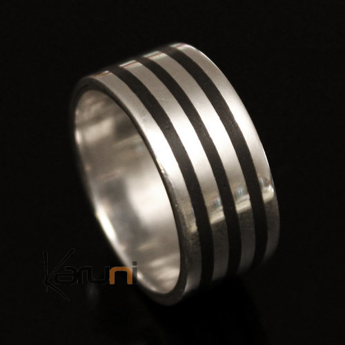 Engagement Ring Wedding  Sterling Silver Ebony Strips 3 Men/Women Tuareg Tribe Design KARUNI