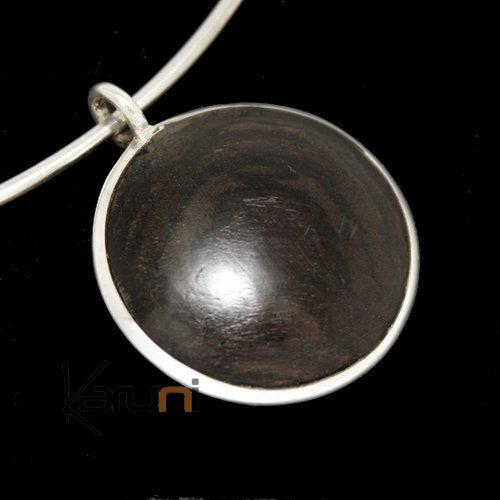 Ethnic Jewelry Pendant Sterling Silver Ebony Circle Tuareg Tribe Design KARUNI