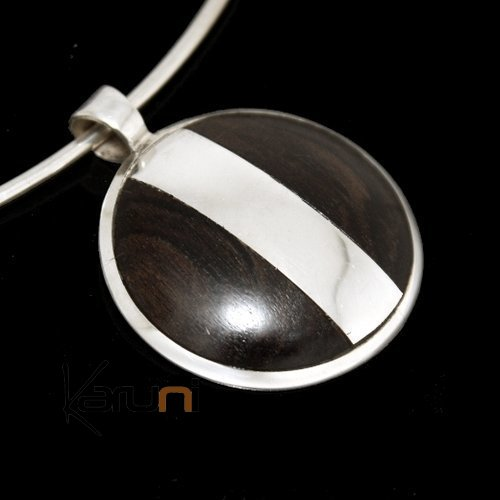 Ethnic Jewelry Pendant Sterling Silver Strip Ebony Circle Tuareg Tribe Design